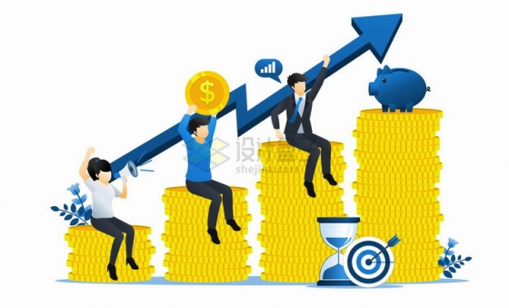 坐在金币上扛着增长曲线的商务人士投资扁平插画png图片免抠矢量素材