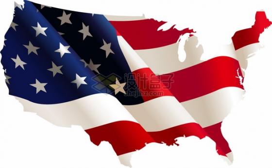 印有飘扬星条旗国旗图案的美国地图png图片素材