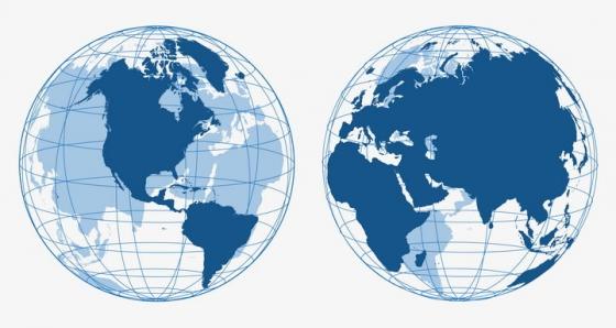 带有经纬线的世界地图空心地球图片免抠矢量素材