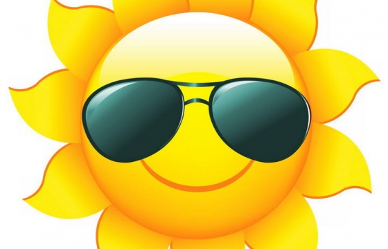 带着墨镜的微笑卡通太阳表情图片免抠素材