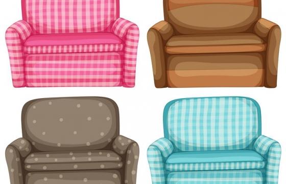 卡通漫画风格4种单人沙发家具图片免抠素材