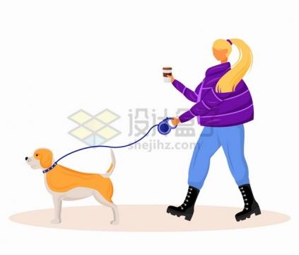 卡通女孩用牵狗绳遛狗扁平插画png图片素材