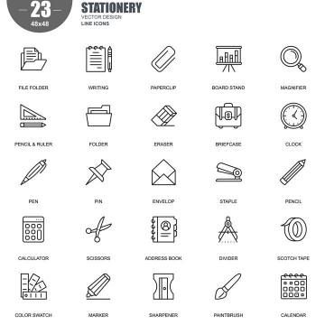 手绘线条风格办公物品icon图标图片免抠素材合集