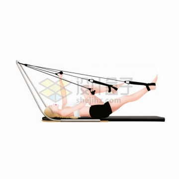 女孩躺在地上拉伸腿部健身锻炼png免抠图片素材