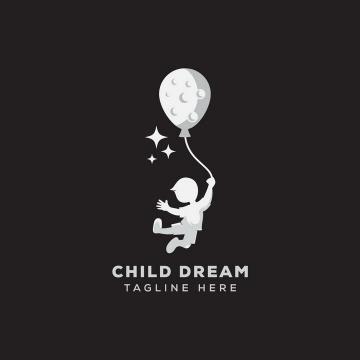 拉着月亮形状的气球飞起来的儿童梦想logo设计方案png图片免抠eps矢量素材