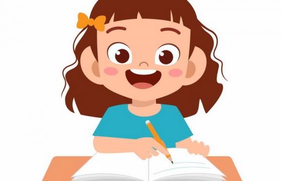 回家认真写作业的卡通小女孩png图片免抠矢量素材