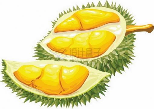 两个切开的卡通榴莲露出黄色果肉png图片素材