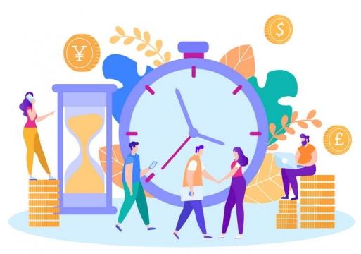 扁平插画风格理财金融交易时间配图图片免抠素材