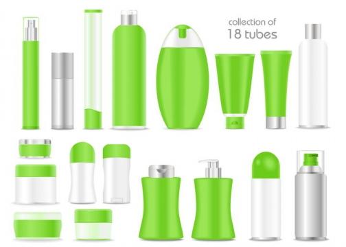 18款各种形状的洗发水洗面奶等绿色化妆品瓶子图片免抠矢量素材