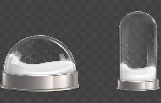 两款逼真的雪景球雪花玻璃球图片免抠矢量素材