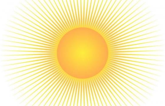 简约光芒四射的黄色太阳图片免抠素材