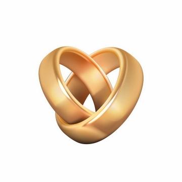 两只黄金求婚戒指订婚戒指png图片免抠矢量素材