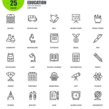 手绘线条风格各类科学研究类icon图标图片免抠素材合集