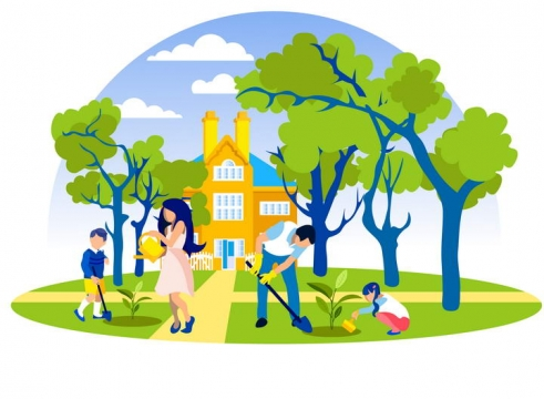 扁平插画风格正在种树的一家四口植树节图片免抠素材