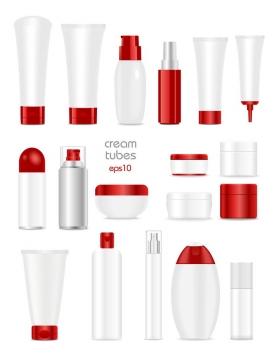 18款各种形状的洗发水洗面奶等红色化妆品护肤品瓶子图片免抠矢量素材