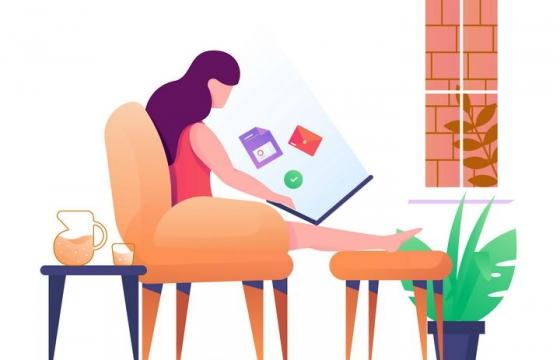 扁平插画风格坐在沙发上用电脑办公的年轻女孩图片免抠矢量图素材