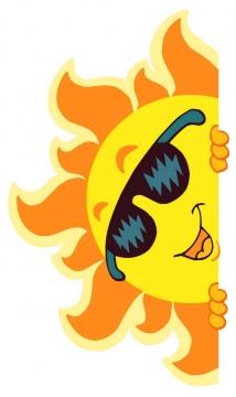 躲在空白墙壁后面的卡通墨镜太阳图片免抠素材