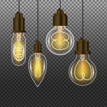4款半透明复古黄色白炽电灯泡图片免抠素材