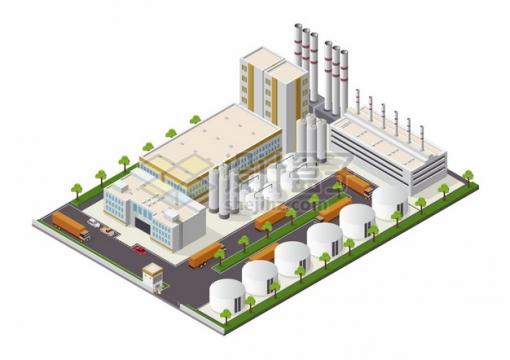 2.5D风格化工厂巨大的厂房建筑和运输卡车存储罐png图片素材