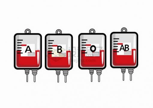 不同血型的卡通血袋693212png免抠图片素材