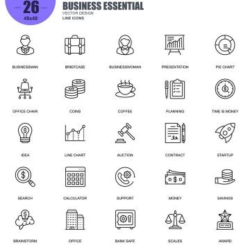 手绘线条风格各类金融经济类icon图标图片免抠素材合集