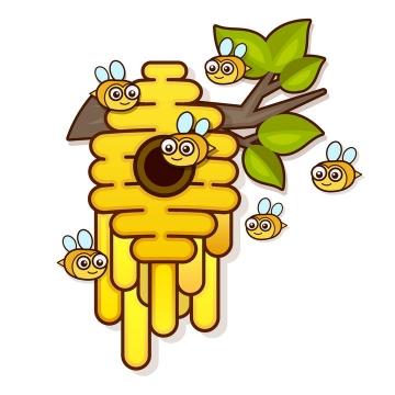 可爱卡通风格蜜蜂和树枝上蜂巢免抠矢量图片素材