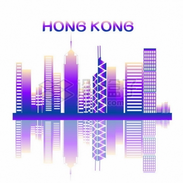 紫色香港城市天际线高楼大厦插画668131png图片素材