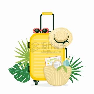 黄色的行李箱和太阳帽太阳镜等热带旅游插图png图片免抠矢量素材