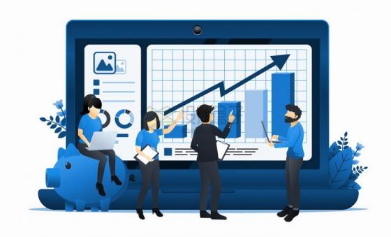 正在电脑上研究投资曲线的金融商务人士扁平插画png图片免抠矢量素材