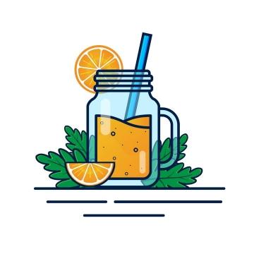 MBE风格玻璃杯中的橙汁美味饮料图片免抠矢量图素材