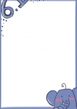 可爱手绘涂鸦小象六一儿童节边框图片免抠素材