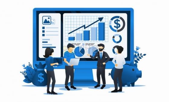 大家正在电脑上讨论投资曲线数据的金融商务人士扁平插画png图片免抠矢量素材