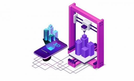 2.5D风格智能手机和3D打印机png图片免抠eps矢量素材