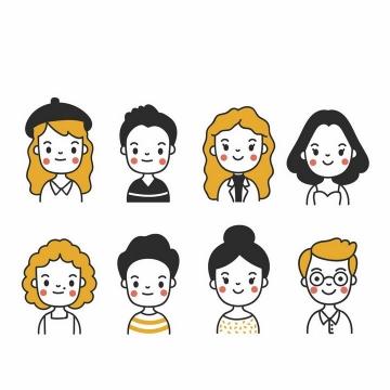 8款卡通风格可爱男孩女孩png图片免抠矢量素材