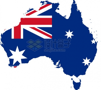 印有国旗图案的澳大利亚地图png图片素材