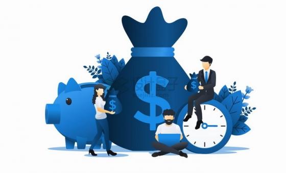 蓝色小猪储蓄罐钱袋和时钟象征了投资扁平插画png图片免抠矢量素材
