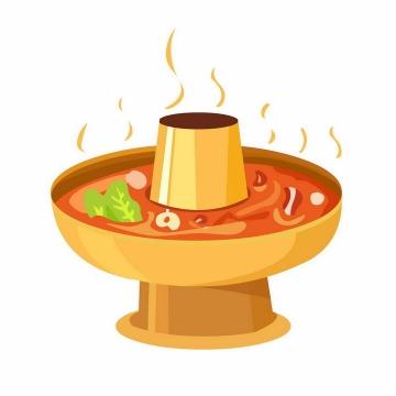 冒着热气的手绘风格火锅美味美食png图片免抠素材