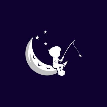 坐在弯弯的月亮上钓鱼的男孩象征了儿童的梦想logo设计方案png图片免抠eps矢量素材