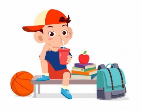 放下书包打完篮球正在喝饮料的卡通小男孩png图片免抠矢量素材