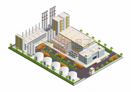 2.5D风格化工厂厂房烟囱和运输卡车存储罐png图片素材