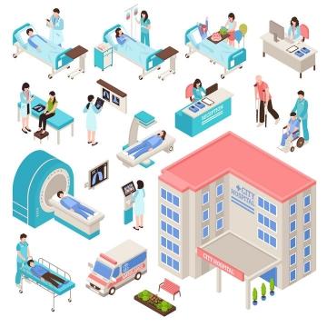 2.5D风格医院大楼病床等医院设施图片免抠素材