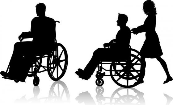 两款坐着轮椅的人物剪影图片免抠矢量素材