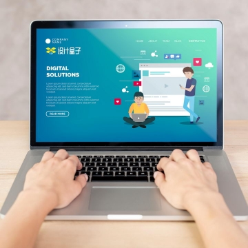 双手正在操作的苹果MacBook Pro笔记本电脑屏幕显示界面样机PSD图片模板