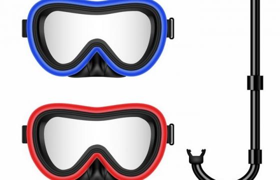 蓝色和红色的潜水镜面镜呼吸管等浮潜装备png图片免抠矢量素材
