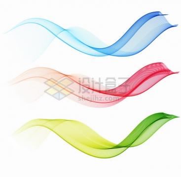 三款抽象绚丽的蓝色红色和绿色波浪线装饰png图片免抠矢量素材