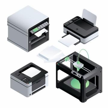 彩色激光打印机喷墨打印机和3D打印机等办公室用品png图片免抠eps矢量素材