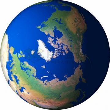 高清地球定位在北极北冰洋和格陵兰岛png免抠图片素材