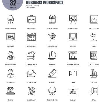 手绘线条风格各类办公工作类icon图标图片免抠素材合集