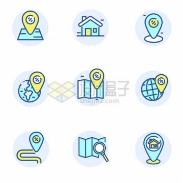 蓝绿色MBE风格定位符号手机导航icon图标png图片矢量图素材