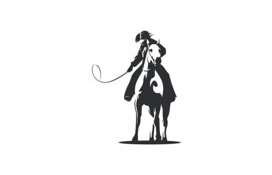 黑色手绘风格马上的西部牛仔图案免抠矢量图片素材
